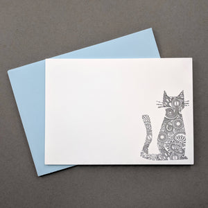 Fancy Henna Cat Note cards: Letterpress Thank You Cards