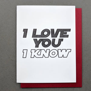 "Star Wars ""I Love You I Know"" Valentines Card Him"