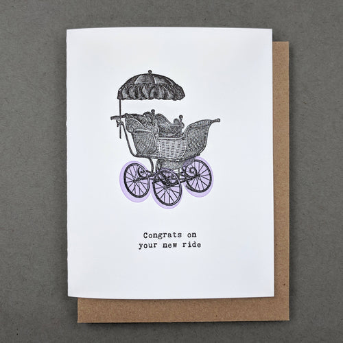 Congrats on your new ride: new baby card