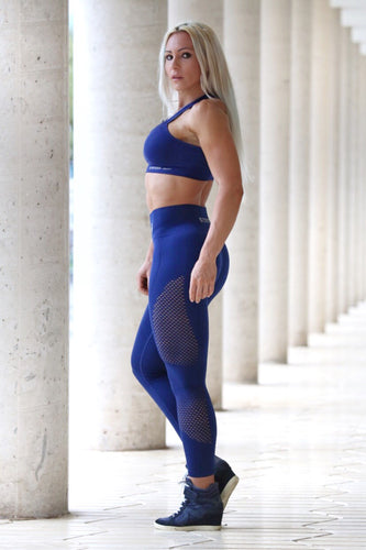 BLUE SEAMLESS HIGH WAISTED - Leggings