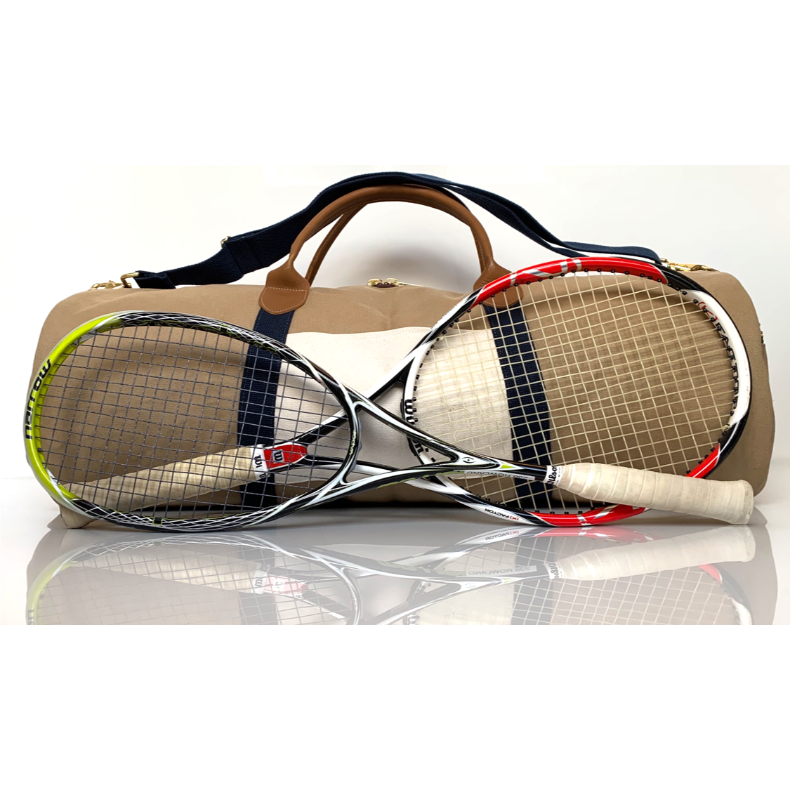 canvas Squash and tennis duffle bag with leather handles
