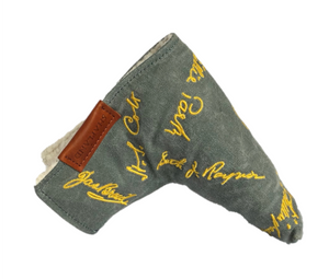 waxed canvas putter cover with dancing signatures of golden age golf course architects