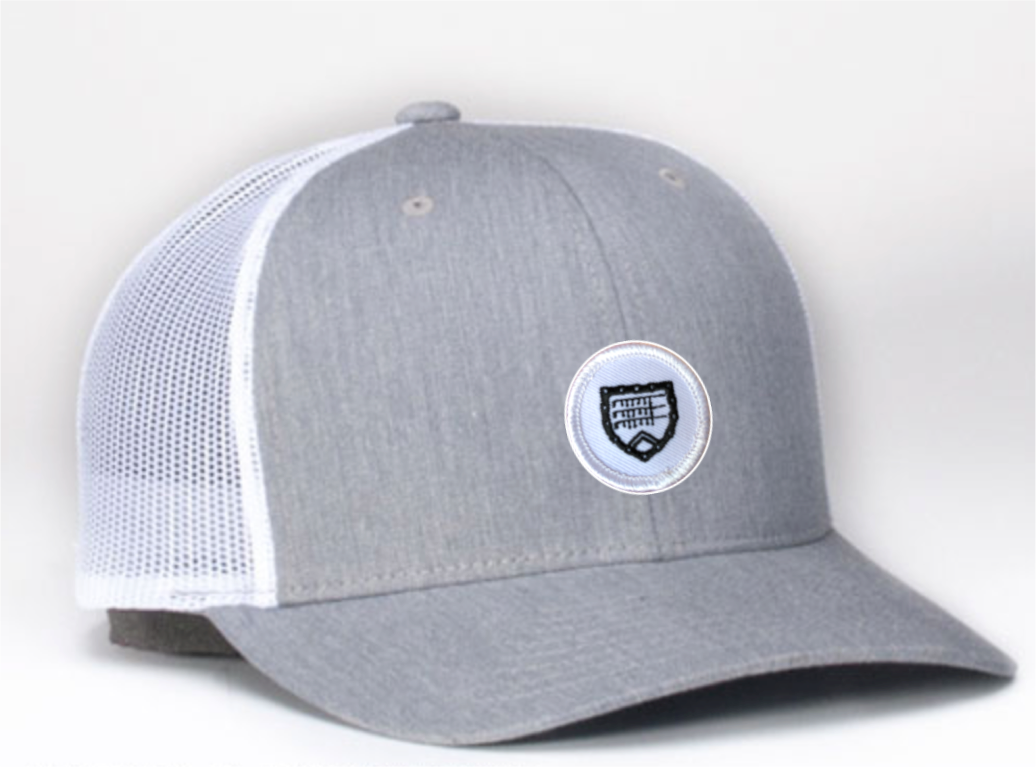 Trucker hat - grey and white with Shapland crest