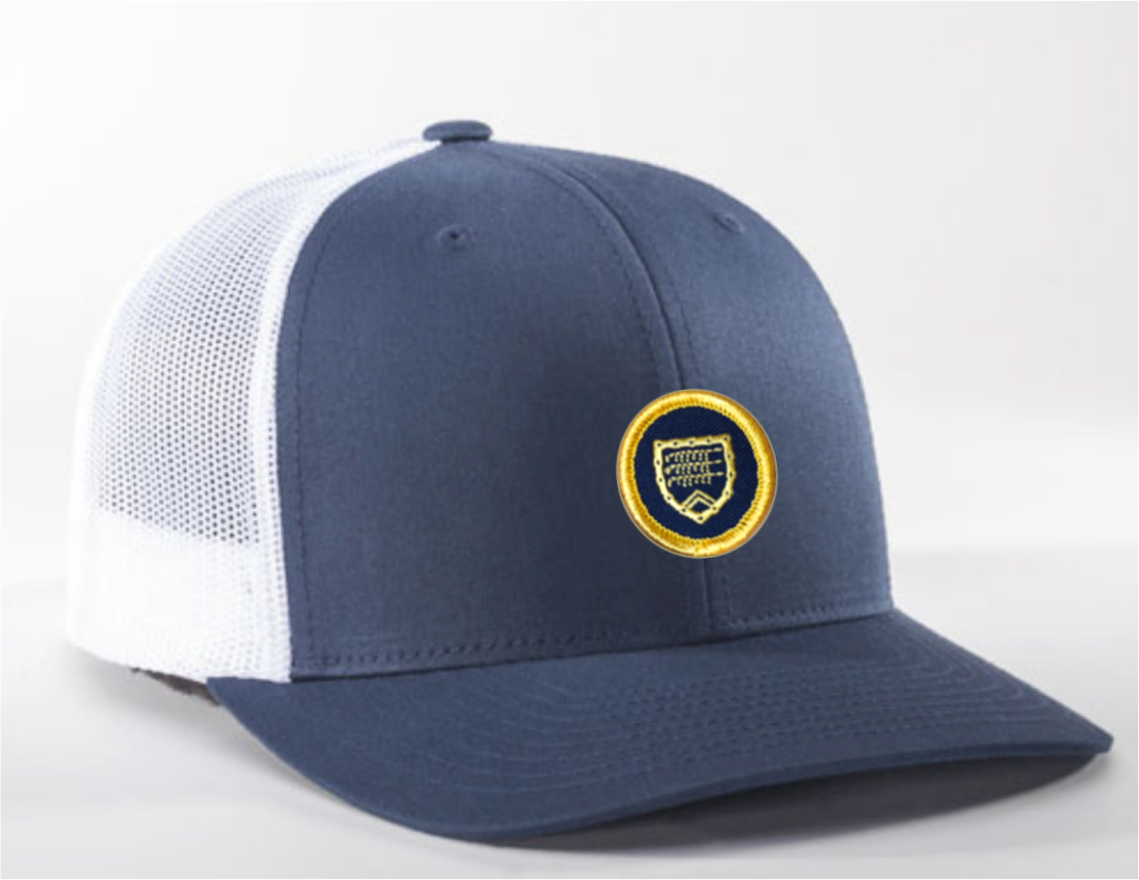 Trucker hat - navy and white with Shapland crest