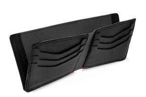 Black leather bi-fold wallet with magnets