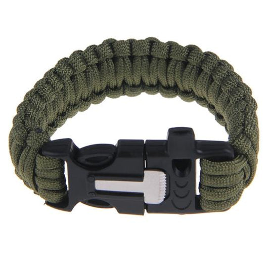 PARACORD BRACELET WITH WHISTLE, FLINT ROD & SCRAPER - GREEN