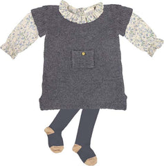 Cashmere baby girl dress in grey