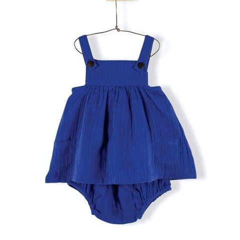Blue double layer voile apron dress