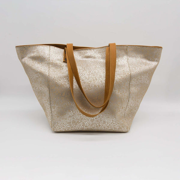 Marseille | Beige tote bag with lace pattern
