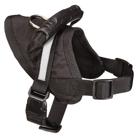 Black harness, with reflective strip, sturdy handle, and metal D-ring.