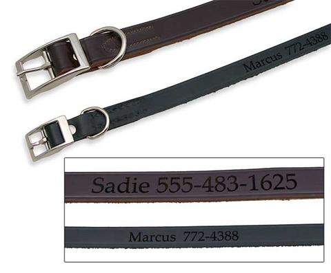 engraved leather collar