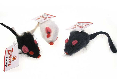 3 furry mice toys: 1 black, 1 white, and 1 gray
