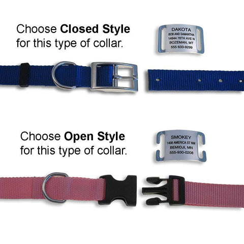 Slide On Tag Styles with appropriate collar styles
