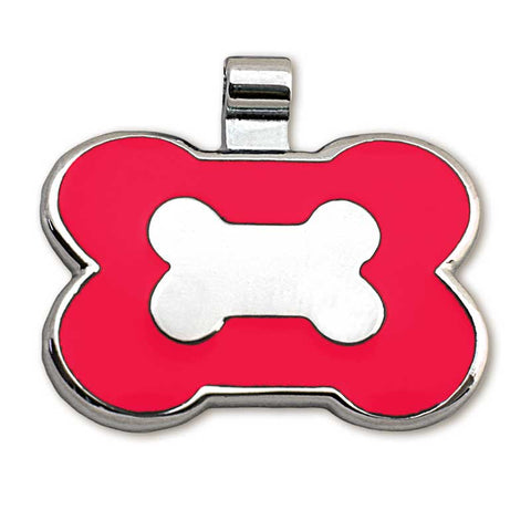 Bone shaped metal tag with red enamel on front surrounding a metal bone design
