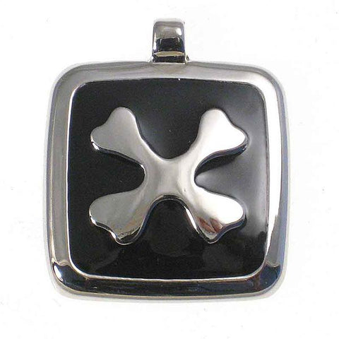 Square metal tag with black enamel on the front surrounding a metal design of two bones crossed to form an X