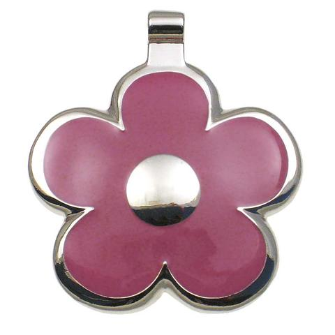 Daisy shaped metal tag with pink enamel on front surrounding a metal flower center