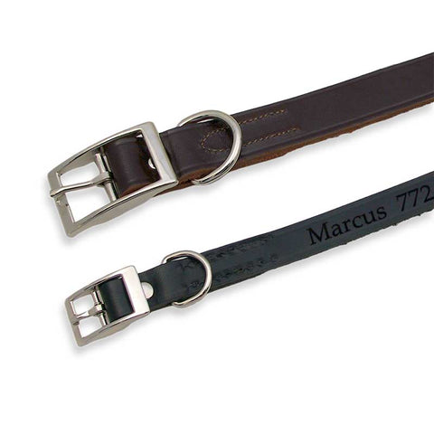 brown leather collar and black leather collar with pet name and phone number engraved