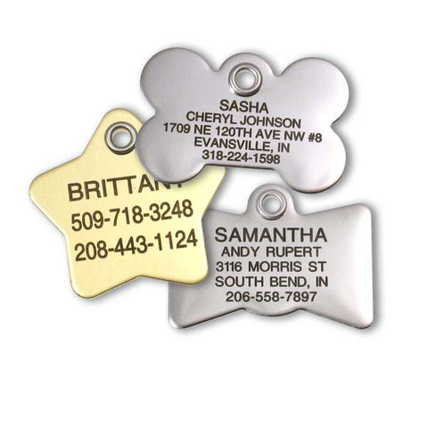 brass star pet tag, stainless bone pet tag, and stainless bow tie pet tag