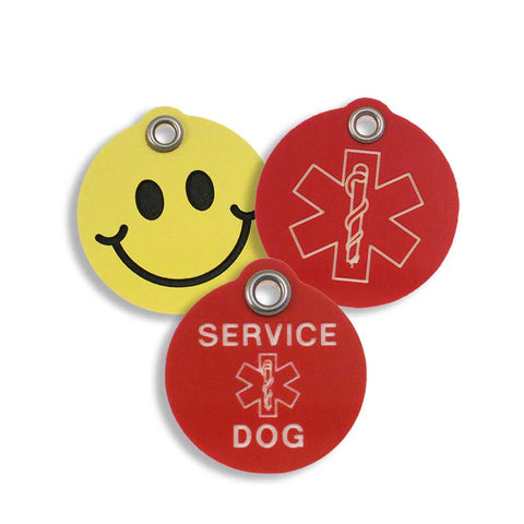 Yellow smiley face plastic tag, red medical alert tag, and red service dog tag