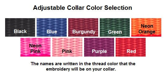 LuckyPet personalized nylon dog collar color chart