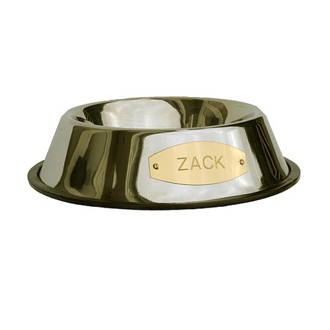 Stainless pet bowl with pet name engraved on a brass plaque