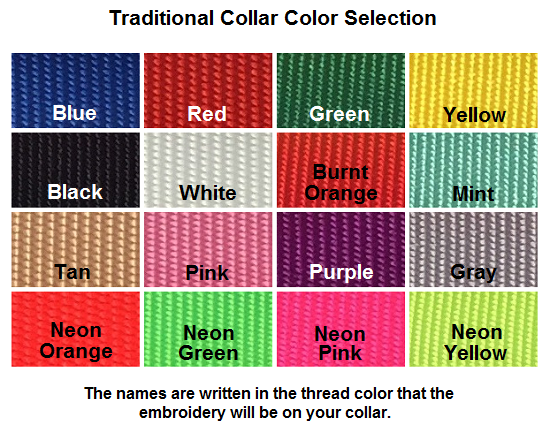 Color chart for traditional collars.