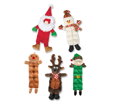5 plush squeaker dog toys: 1 santa, 1 snowman, 1 gingerbread man, 1 reindeer, and 1 elf