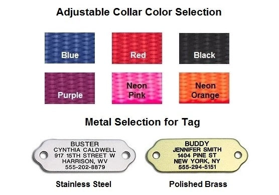 Color options for LuckyPet's Rivet-On ID Collar Combo