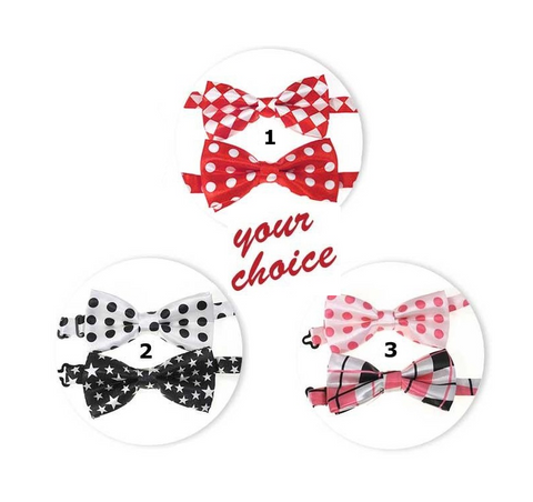 3 sets of dress-up bow ties: 1 set in red, 1 set in black, and 1 set in pink