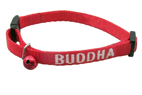 Red cat breakaway collar with pet name embroidered and red bell attached
