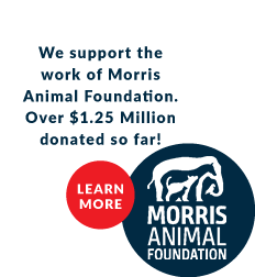 We support the work of Morris Animal Foundation. Over $1.25 Million donated so far! Learn More