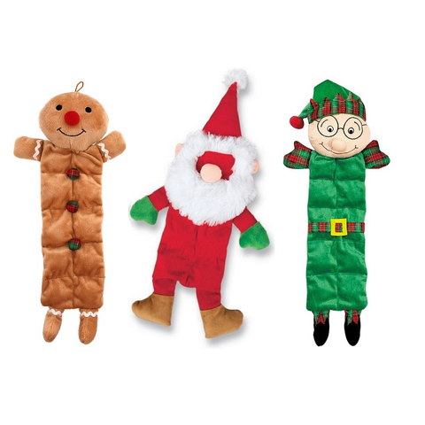 Gingerbread Man, Santa, & Elf Dog Toys