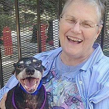 A small dog and a lady, both smiling for the picture