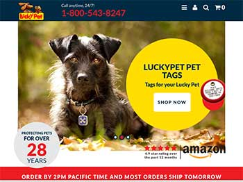 Screenshot of luckypet.com homepage