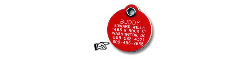 Pet tag showing our toll free 800 number engraved below pet information.