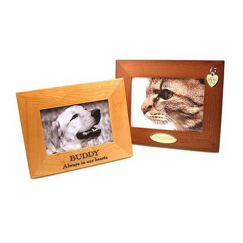 Two wood picture frames, 1 in natural finish with pet name and sweet thought engraved, 1 in walnut finish with brass plaque engraved with pet name