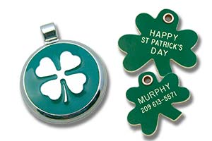 Green pet tags including a shamrock and 4 leaf clover design.
