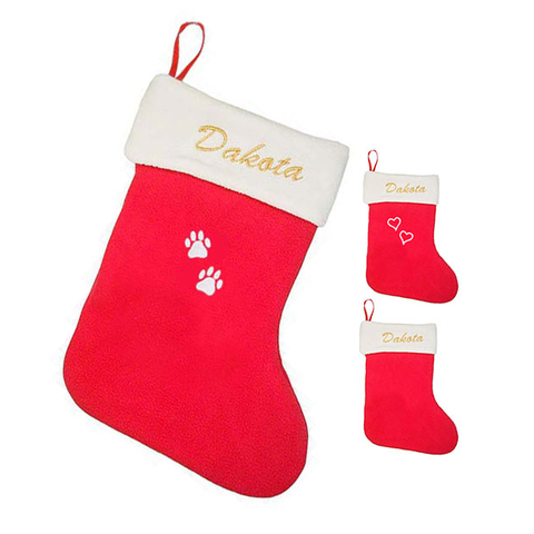 red holiday stocking with pet name & paw prints embroidered, red stocking with pet name and hearts embroidered