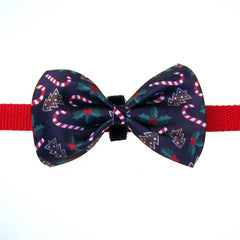 Christmas Bow Tie attached to a collar