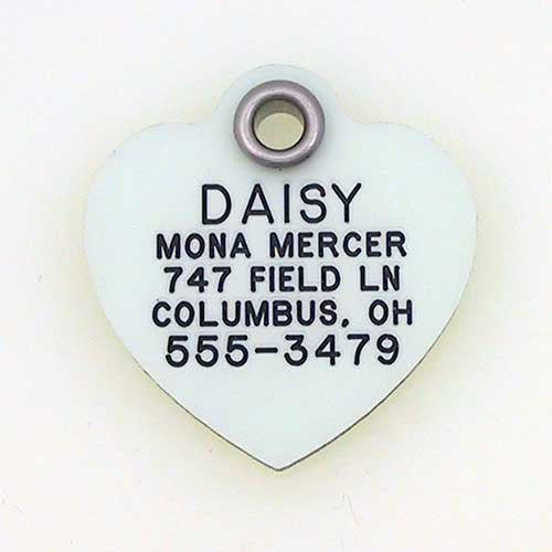 Glow in The Dark Dog Tags - Heart Shaped
