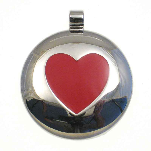 Round metal tag with red enamel filled in on the front to form the shape of a red heart