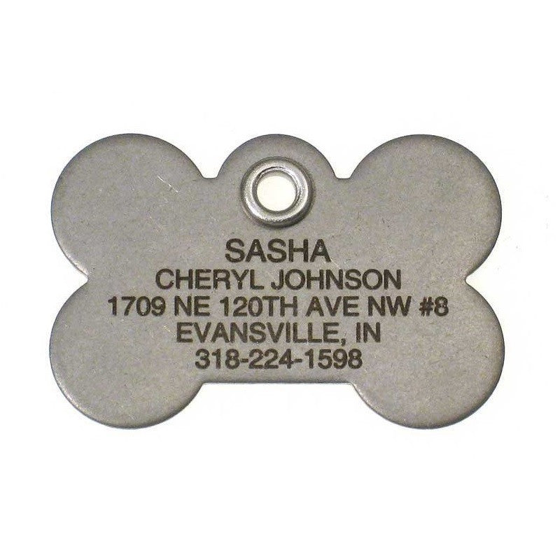 Metal Bone Dog Tag - Matte Finish Stainless Steel - Size: Large,  - Lucky Pet