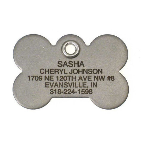 Metal Bone Dog Tag - Matte Finish Stainless Steel - Size: Large