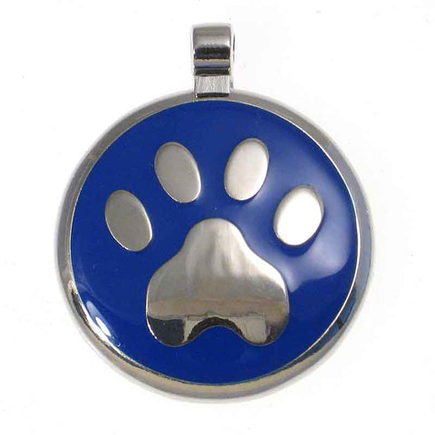 Round metal tag with blue enamel on front surrounding a paw design