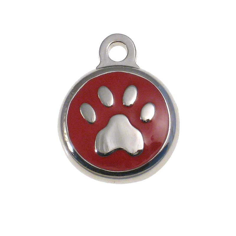 Tiny round metal tag with red enamel on front surrounding a metal paw print design.