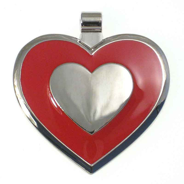 Heart shaped metal tag with red enamel on the front surrounding a metal heart