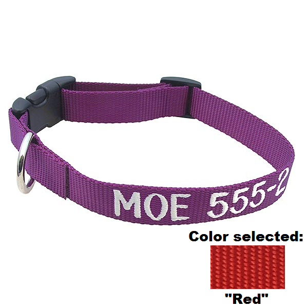 LuckyPet personalized red nylon dog collar