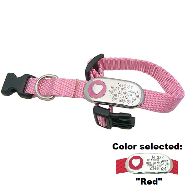 Jewelry ID Collar - Heart,  - Lucky Pet