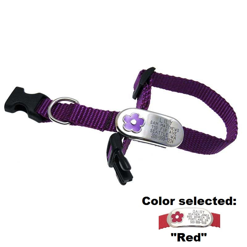 Pet ID Collar With Flower Jewelry | Dog Collar | Pet Tags