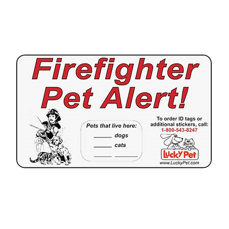 Reflective Fire Fighter Pet Alert Stickers,  - Lucky Pet